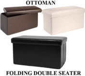 2 Seater Double Large Folding Storage Faux Leather Ottoman Pouffe Seat Stool Box Brown