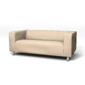 Sofa Cover for Ikea Klippan 2 Seater Sofa in Stone with hook and loop Secure Fitting