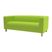 Sofa Slip Replacement Cover for Ikea Klippan 2 Seater Sofa in Lime Green with hook and loop Secure Fitting