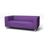 Sofa Slip Replacement Cover for Ikea Klippan 2 Seater Sofa in Lilac with hook and loop Secure Fitting