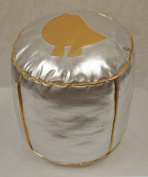 Kids Round Silver Leather pouffe- Gold Bird on Silver - (Filled) Di 35 H 35cm