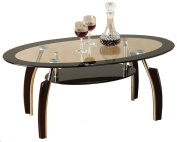 Home Discount Elena Black and Clear Glass Coffee Table