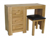 Kettle Interiors Wood Chester Oak Dressing Table and Stool with Matt Lacquer Finish, Brown