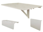 Wall-mounted Drop-leaf Table, Double Folding Kitchen & Dining Solid Wood Table Desk, 80--60cm - White, FWT02-W