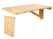 Wall-mounted Drop-leaf Table, Folding Kitchen & Dining Table Desk, Solid Wood Children Table, 70--45cm - Natural, FWT04-N