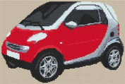 ForTwo Coupe Smart Car Cross Stitch Kit - Red