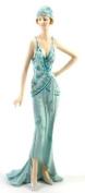 Art Deco Broadway Belles Lady Figurine Statue. Blue Teal Colour #01
