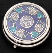 Pill Box (large size) in a Mackintosh Rose Ring of Roses Design. Celtic Glass Designs presents Sea Gems stunning enamelled pewter giftware. These significant and expressive gifts are ideal for Valentine's Day, Mother's Day, Easter, Christm ..