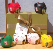 Gift Box - Japanese Maneki Neko lucky cats six round coloured