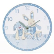 Little Feet Boys Blue Bedroom Wall Clock With Gift Box - Part of A Great Range Of Nursery Gifts