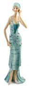 Art Deco Broadway Belles Lady Figurine Statue. Blue Teal Colour #02