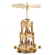 Christmas Pyramid 46cm Nativity Play - 3 Tier Carousel with 6 Candle Holders - BRUBAKER design