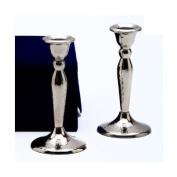Copa Stainless Steel Shabbat Candlesticks In Velvet Gift Box - Hammered Design Set Of 2