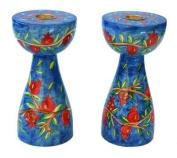 Emanuel Pomegranate Design Medium Shabbat Candlesticks