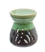 Green & Black Glazed Ceramic Oil Burner H11 cm