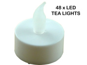 48 x LED FLICKERING TEA LIGHT CANDLES - INCLUDED BATTERY OPERATED EASY & SAFE TO USE - LONG LASTING BATTERIES - GREAT FOR DECORATIONS / PARTIES / WEDDING / BIRTHDAY / ANNIVERSARY / FESTIVALS