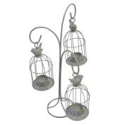 Tonal Triple Hanging Tea Light Holder Birdcage Budgey - Dark Neutral Colour