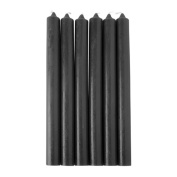 Candles - Set of 6 Black Bistro Style Dinner Candles