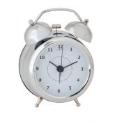 Nextime Wake Up Small Metal Alarm Clock, Silver