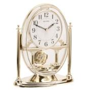 RHYTHM Mantel Clock with Moving Crystal Effect Pendulum in Gold