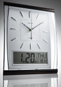 KG Homewares Silent Sweep Wall Clock With Large Digital Month/Date/Day Calendar Display In White