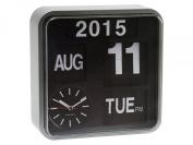 Karlsson Square Flip Clock Wall Clock Calendar - Silver Retro
