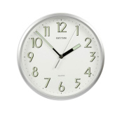 Rhythm Plastic Silver Finish Silent Sweep Wall Clock - Luminous Glow in the dark hands