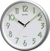 RHYTHM Value Added Silver Colour Wall Clock with Super Luminous Numbers and Hands