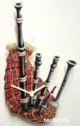 Scottish Bagpipes Wall Clock - Wooden - Red Tartan - SCOT9