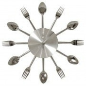 Cutlery Wall Clock - Chrome Kitchen Clock - New for 2012