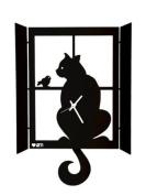 CAT ON THE WINDOW WALL CLOCK ITALIAN DESIGN ARTI MESTIERI - BLACK
