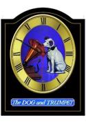 DOG AND TRUMPET Vintage English Pub Sign Wall Clock