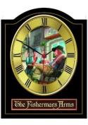 FISHERMANS ARMS Vintage English Pub Sign Wall Clock