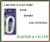151 Curtain Wire With Hooks And Eyes, 4 Metres