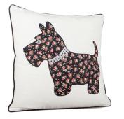 Applique Embroidered Scottie Dog Cushion