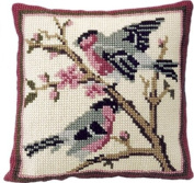 Brigantia Needlework Bullfinches Tapestry Cushion Front Kit in Quick Cross Stitch, Multi-Coloured