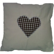 New Cream Cotton with Brown Gingham Heart Cushion Cover Shabby Country Chic