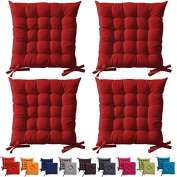 """4 x Red Padded Seat Cushions With Ties 40x40x5cm """"The Today Range"""""""