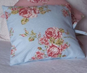 Shabby Chic Cushion Cover - Blue Large Floral