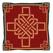 Brigantia Needlework Bargello Red Tapestry Cushion Front Kit in Tent Stitch, Multi-Coloured