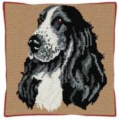 Brigantia Needlework Cocker Spaniel Tapestry Cushion Front Kit in Quick Cross Stitch, Multi-Coloured