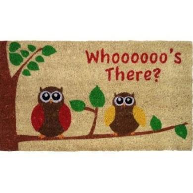 JVL Owls PVC coir entrance door mat 40 x 70cm