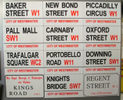 London - Famous Street Signs - 12 fridge magnets including Trafalgar Square