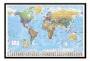 World Map Pin Board Framed In Black Wood Includes 100 Pins - 96.5 x 66 cms