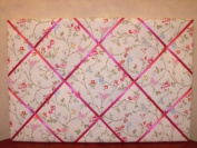 Large Clarke & Clarke White Bird Trail Hand Crafted Fabric Notice / Pin / Memo Board