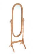 Oak Finish Wooden Free Standing Full Length Cheval Mirror