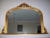 Classic French Inspired Antique Gold Overmantle Mirror With Elegant Ornate Frame complete with Premium Quality Pilkington's Glass - Standard Size