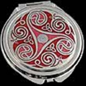 Compact Mirror in Celtic Red Triskeles and Trinity Knot Design. Celtic Glass Designs presents Sea Gems stunning enamelled pewter giftware. These significant and expressive gifts are ideal for Valentine's Day, Mother's Day, Easter, Christma ..