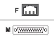 RJ-45F to DB-25M Crossover (DTE) Adapter