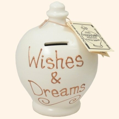 Terramundi Money Pot -Cream with Wishes & Dreams in gold lettering